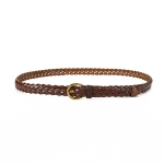 FSA016 Solid Color Woven Thin Belt, Taupe